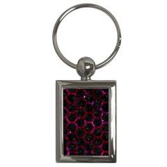 Hexagon2 Black Marble & Burgundy Marble Key Chains (rectangle)  by trendistuff