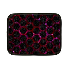 Hexagon2 Black Marble & Burgundy Marble Netbook Case (small)  by trendistuff