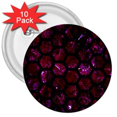 Hexagon2 Black Marble & Burgundy Marble (r) 3  Buttons (10 Pack)  by trendistuff