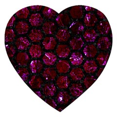 Hexagon2 Black Marble & Burgundy Marble (r) Jigsaw Puzzle (heart) by trendistuff