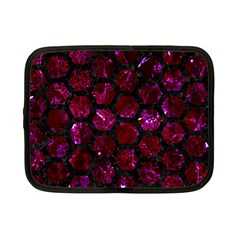 Hexagon2 Black Marble & Burgundy Marble (r) Netbook Case (small)  by trendistuff