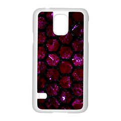 Hexagon2 Black Marble & Burgundy Marble (r) Samsung Galaxy S5 Case (white) by trendistuff