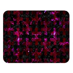 Puzzle1 Black Marble & Burgundy Marble Double Sided Flano Blanket (large)  by trendistuff