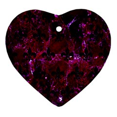 Royal1 Black Marble & Burgundy Marble Heart Ornament (two Sides) by trendistuff