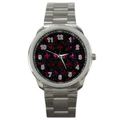 Royal1 Black Marble & Burgundy Marble (r) Sport Metal Watch by trendistuff