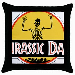 Jurassic Dad Dinosaur Skeleton Funny Birthday Gift Throw Pillow Case (black)