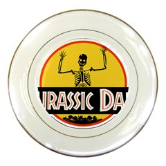 Jurassic Dad Dinosaur Skeleton Funny Birthday Gift Porcelain Plates by PodArtist