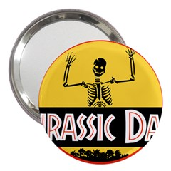 Jurassic Dad Dinosaur Skeleton Funny Birthday Gift 3  Handbag Mirrors by PodArtist