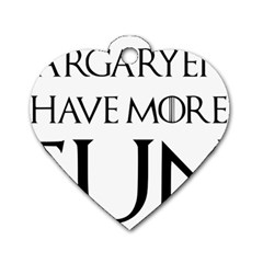 Targaryens Have More Fun   Blondes Have More Fun Black Dog Tag Heart (two Sides) by PodArtist