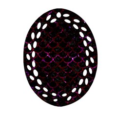 Scales1 Black Marble & Burgundy Marble Oval Filigree Ornament (two Sides) by trendistuff