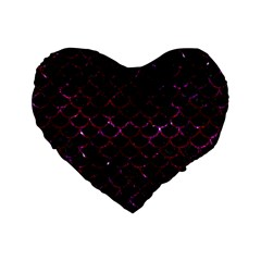 Scales1 Black Marble & Burgundy Marble Standard 16  Premium Flano Heart Shape Cushions by trendistuff