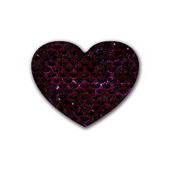 Scales3 Black Marble & Burgundy Marble Rubber Coaster (heart)  by trendistuff