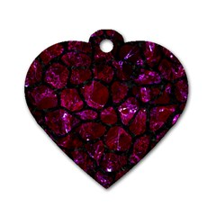 Skin1 Black Marble & Burgundy Marble Dog Tag Heart (two Sides) by trendistuff