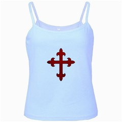 Crusader Cross Baby Blue Spaghetti Tank by Valentinaart