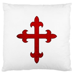 Crusader Cross Large Flano Cushion Case (one Side) by Valentinaart