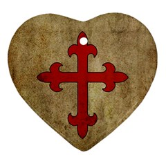 Crusader Cross Heart Ornament (two Sides)