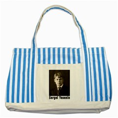 Sergei Yesenin Striped Blue Tote Bag by Valentinaart