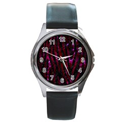 Skin4 Black Marble & Burgundy Marble (r) Round Metal Watch by trendistuff