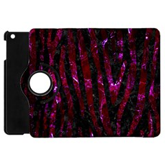 Skin4 Black Marble & Burgundy Marble (r) Apple Ipad Mini Flip 360 Case
