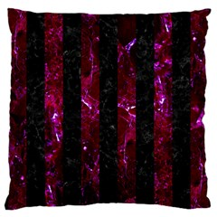 Stripes1 Black Marble & Burgundy Marble Large Cushion Case (one Side) by trendistuff