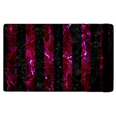 Stripes1 Black Marble & Burgundy Marble Apple Ipad 3/4 Flip Case by trendistuff