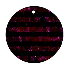 Stripes2 Black Marble & Burgundy Marble Round Ornament (two Sides) by trendistuff