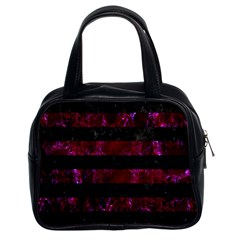 Stripes2 Black Marble & Burgundy Marble Classic Handbags (2 Sides) by trendistuff