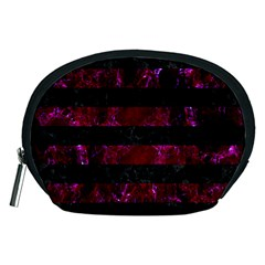 Stripes2 Black Marble & Burgundy Marble Accessory Pouches (medium)  by trendistuff