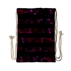 Stripes2 Black Marble & Burgundy Marble Drawstring Bag (small) by trendistuff