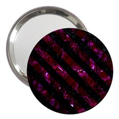 Stripes3 Black Marble & Burgundy Marble (r) 3  Handbag Mirrors by trendistuff