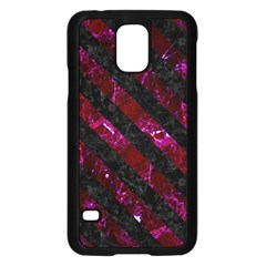Stripes3 Black Marble & Burgundy Marble (r) Samsung Galaxy S5 Case (black) by trendistuff
