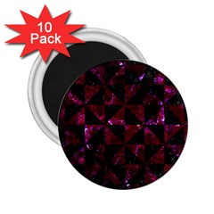 Triangle1 Black Marble & Burgundy Marble 2 25  Magnets (10 Pack)  by trendistuff