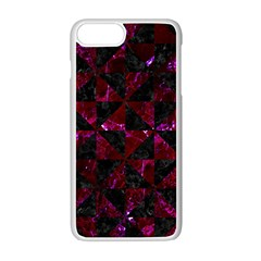 Triangle1 Black Marble & Burgundy Marble Apple Iphone 7 Plus White Seamless Case by trendistuff
