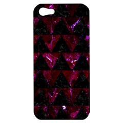 Triangle2 Black Marble & Burgundy Marble Apple Iphone 5 Hardshell Case by trendistuff