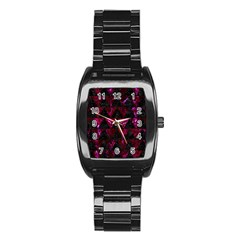 Triangle2 Black Marble & Burgundy Marble Stainless Steel Barrel Watch by trendistuff
