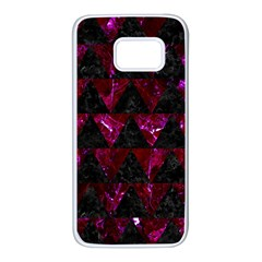 Triangle2 Black Marble & Burgundy Marble Samsung Galaxy S7 White Seamless Case