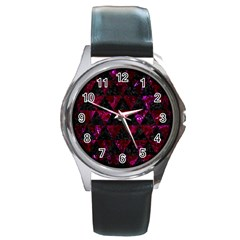 Triangle3 Black Marble & Burgundy Marble Round Metal Watch by trendistuff