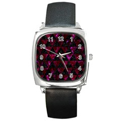 Triangle3 Black Marble & Burgundy Marble Square Metal Watch by trendistuff