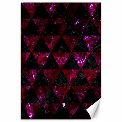 Triangle3 Black Marble & Burgundy Marble Canvas 12  X 18   by trendistuff