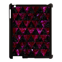 Triangle3 Black Marble & Burgundy Marble Apple Ipad 3/4 Case (black) by trendistuff