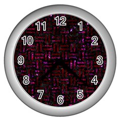 Woven1 Black Marble & Burgundy Marble Wall Clocks (silver)  by trendistuff