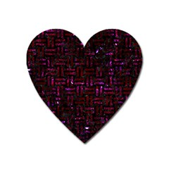 Woven1 Black Marble & Burgundy Marble Heart Magnet by trendistuff