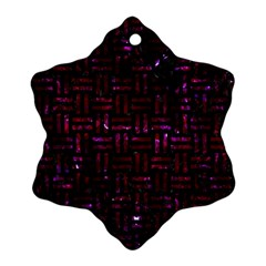Woven1 Black Marble & Burgundy Marble Snowflake Ornament (two Sides)
