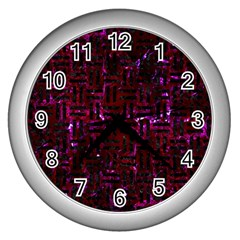 Woven1 Black Marble & Burgundy Marble (r) Wall Clocks (silver)  by trendistuff