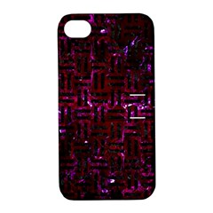 Woven1 Black Marble & Burgundy Marble (r) Apple Iphone 4/4s Hardshell Case With Stand