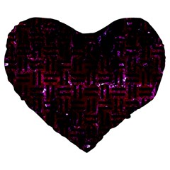 Woven1 Black Marble & Burgundy Marble (r) Large 19  Premium Flano Heart Shape Cushions by trendistuff