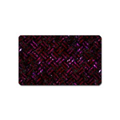 Woven2 Black Marble & Burgundy Marble Magnet (name Card) by trendistuff