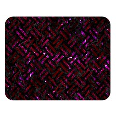 Woven2 Black Marble & Burgundy Marble Double Sided Flano Blanket (large)  by trendistuff