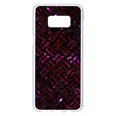 Woven2 Black Marble & Burgundy Marble Samsung Galaxy S8 Plus White Seamless Case by trendistuff