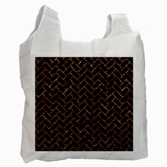 Brick2 Black Marble & Copper Foil Recycle Bag (one Side) by trendistuff